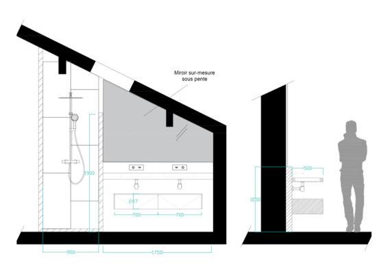 Plan salle de bain sous pente