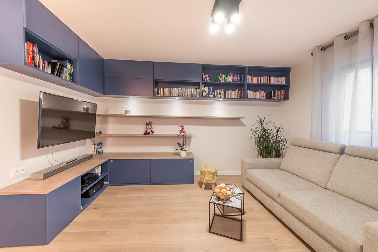 sejour-rangement-meuble-tv-sur mesure-bleu